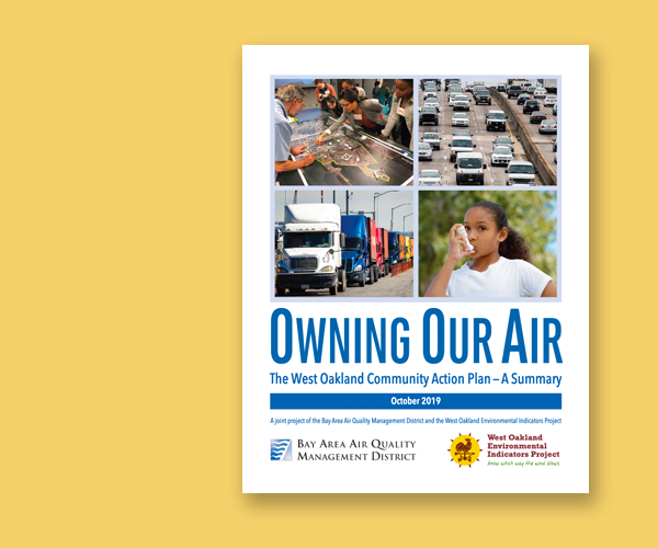 Cover of the 'Owning Our Air' report featuring diesel trucks, a young girls with an inhaler, and other scenes from West Oakland.