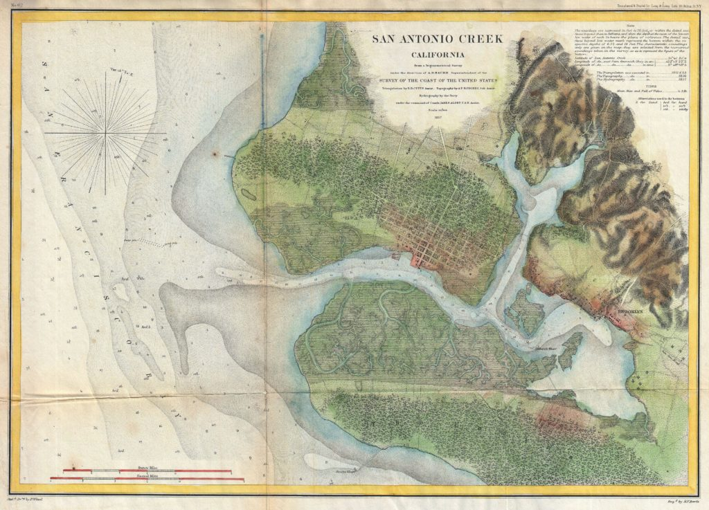 1857 color illustrated map of Oakland, titled San Antonio Creek