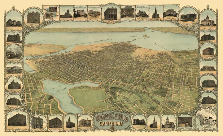 Color illustration of the Oakland, CA shoreline from 1900, surrounded by a border of illustrated historical buildings.